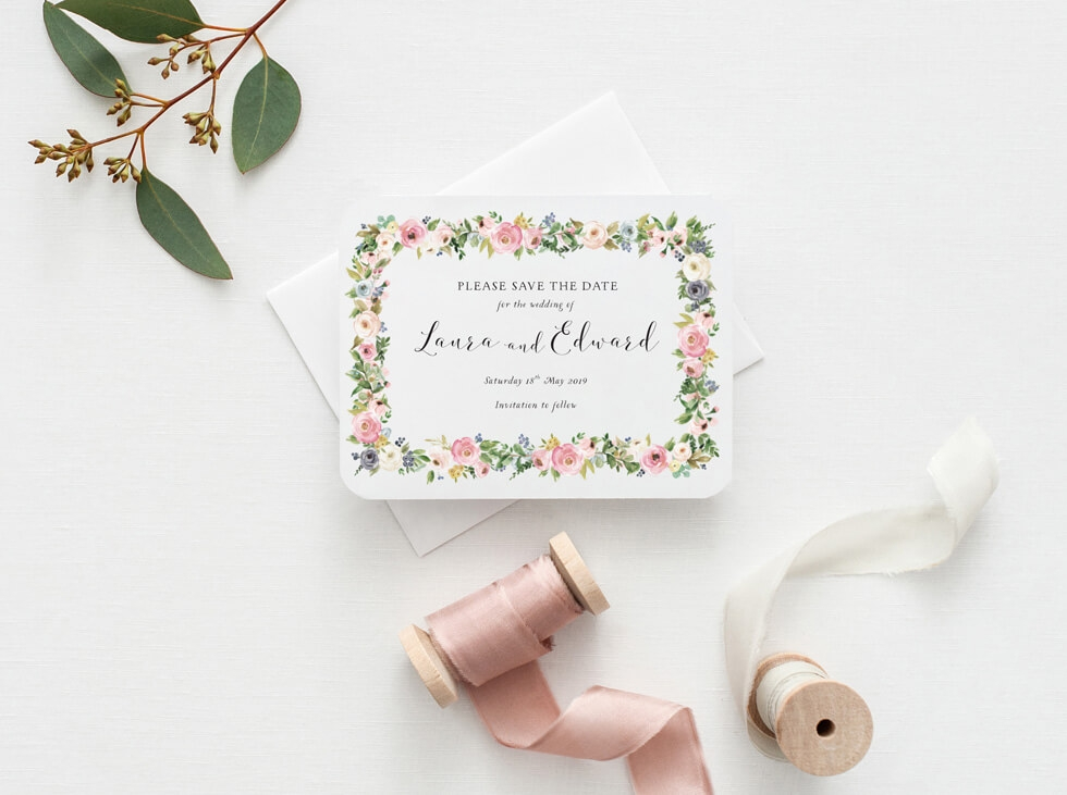 Wedding-save-the-date-card-with-flower-garland