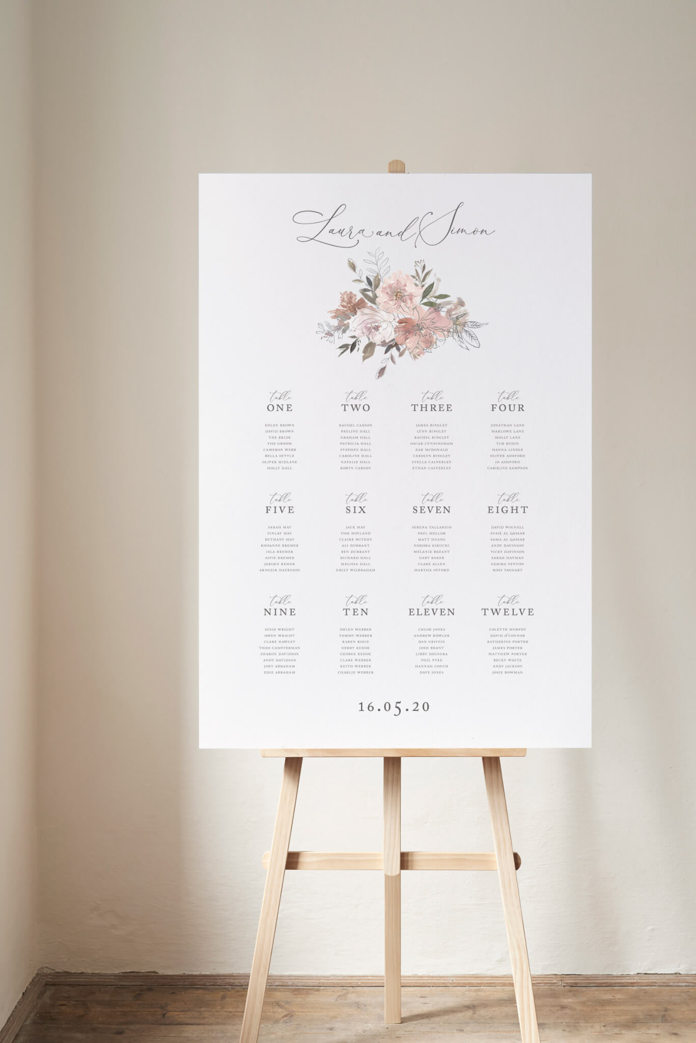 Coral Romance Seating Plan