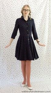 McCall's 7351 shirtdress, front view.