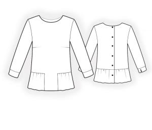 Blouse 4655 from Lekala, line drawing.