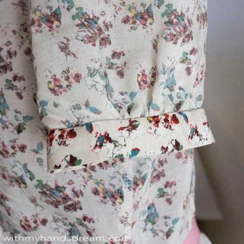 Vintage shirtdress sleeve cuff pattern modification.