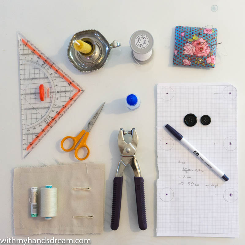 Image: The tools for making the buttonholes by hand.