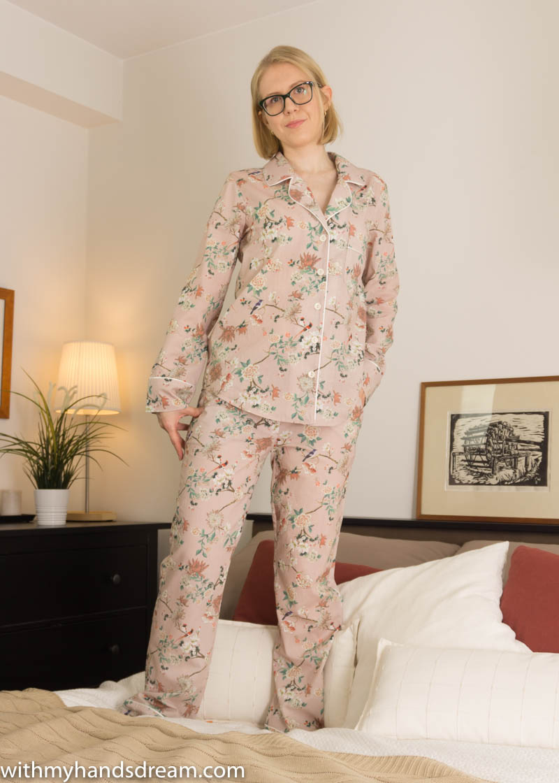 Image: Carolyn pajamas from Closet Case patterns, front view.