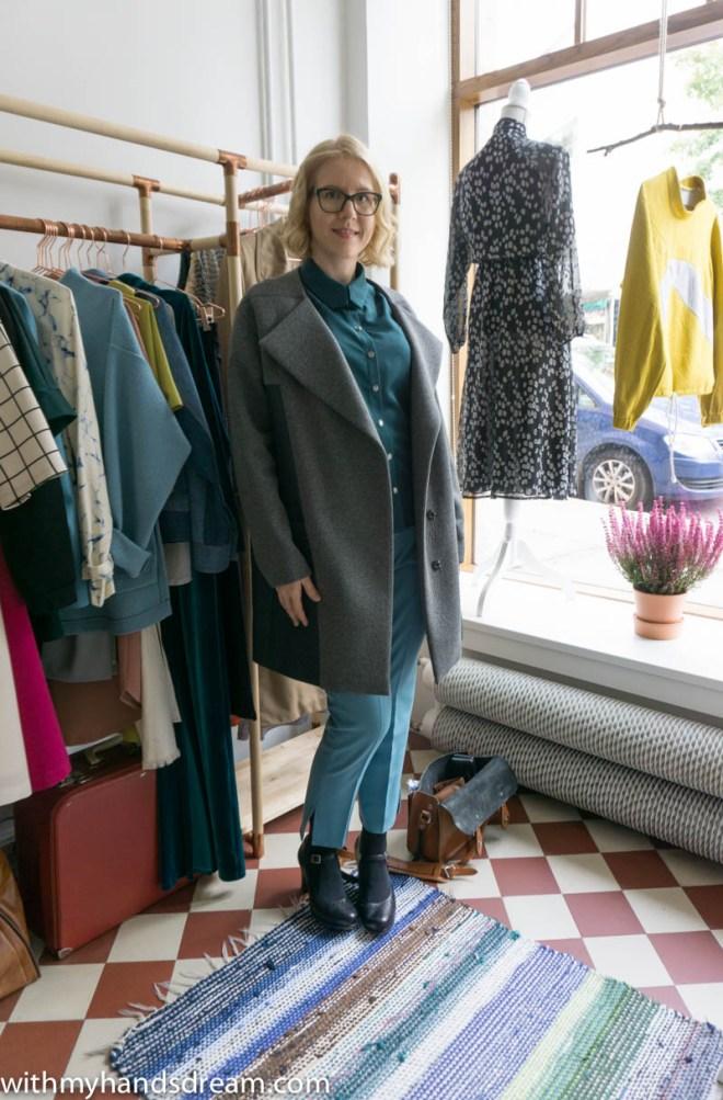 Image: Me wearing the Stella raglan shirt and the Gaia coat.