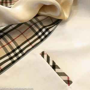 Image: Finished trench coat breast pocket.