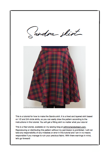 Sandra skirt sewing tutorial pdf cover page.