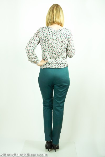 Green narrow trousers made from my sloper, back view.