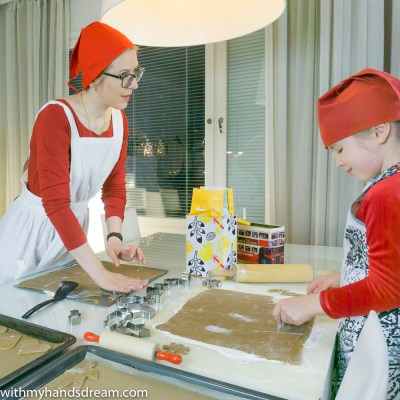 Mother and daughter baking.