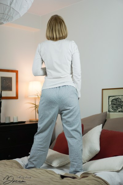 My winter pajamas, back view.