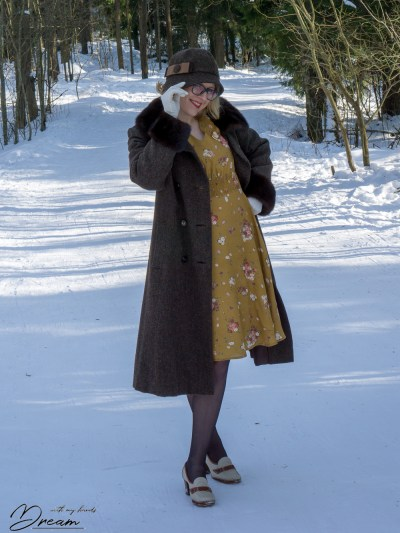 The Amelia Tea Dress with my vintage coat.
