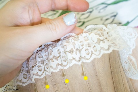 Adding the lace edging.