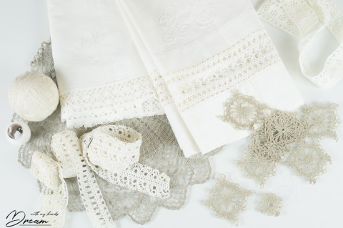Hand-crocheted lace.