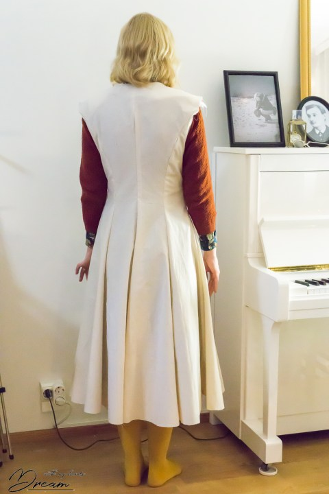V8346 wool coat toile from the back.