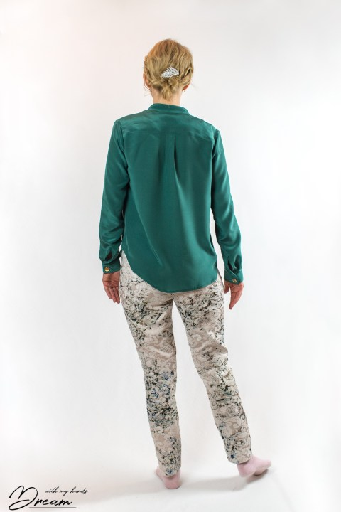 My green silk Diana blouse by In-house patterns.