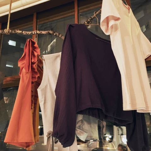 Samples at the shop window.