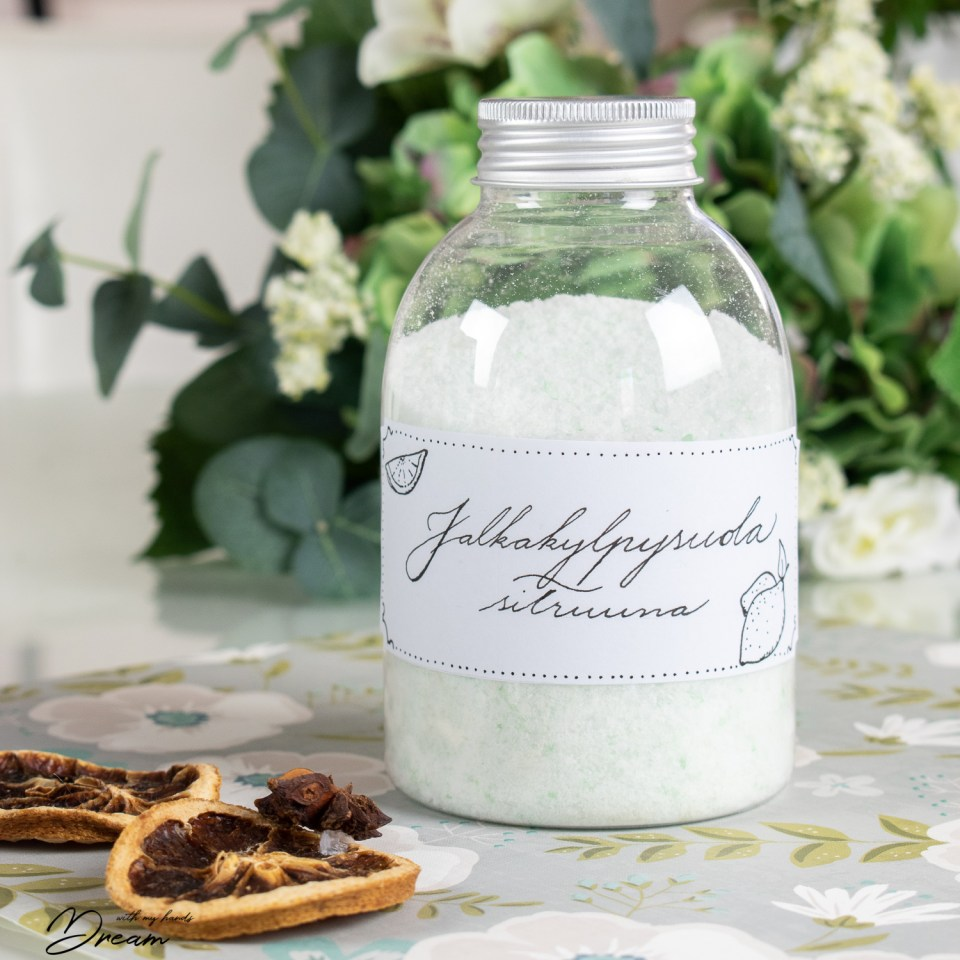 Put the foot bath salt in a pretty container with a hand-written label!