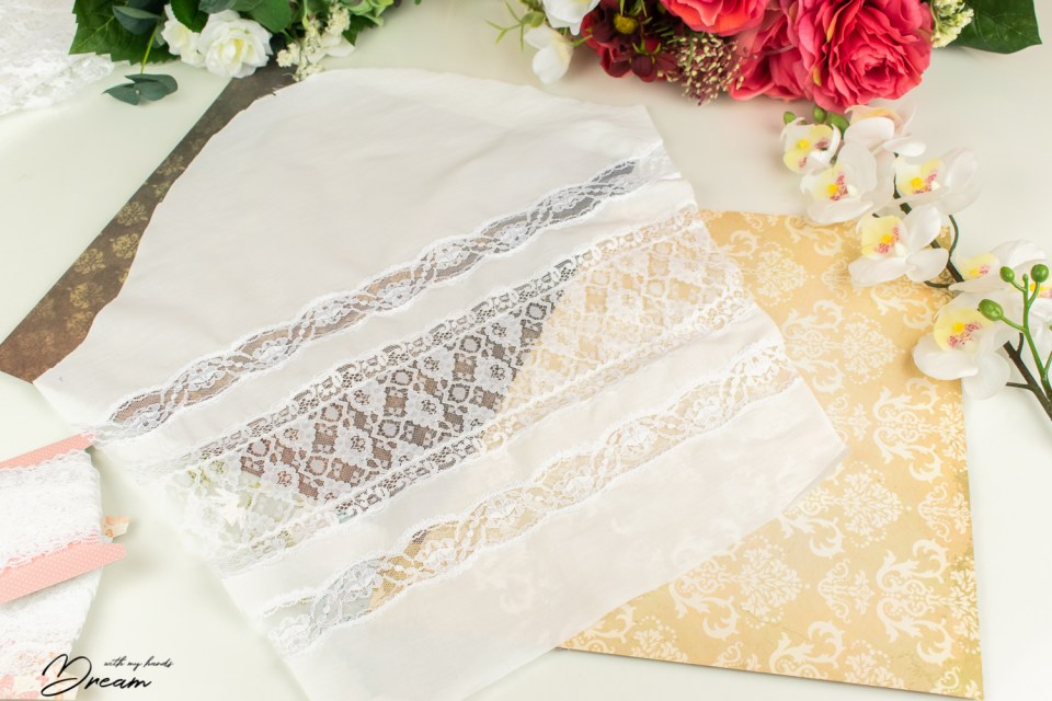 The sleeve with the lace insertions.