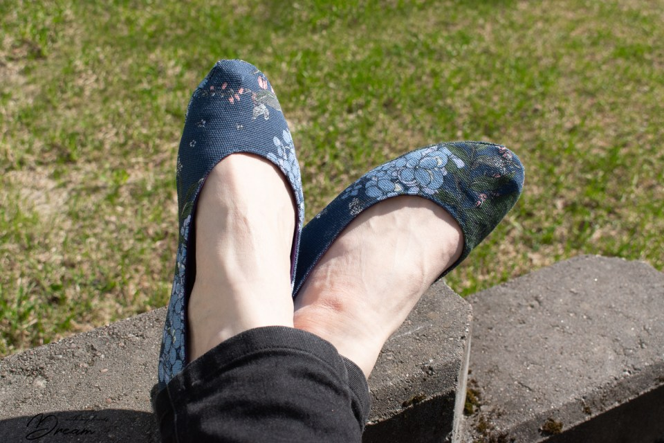 My new ballet flats made with the pattern from Living DIY Style.