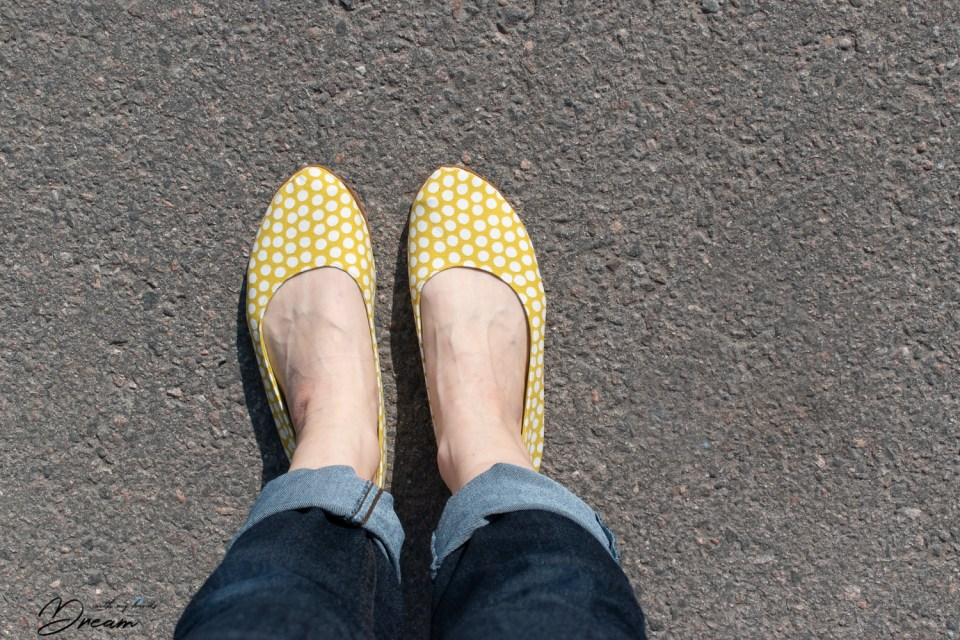 My pair of yellow dotty ballet flats with outdoor soles.