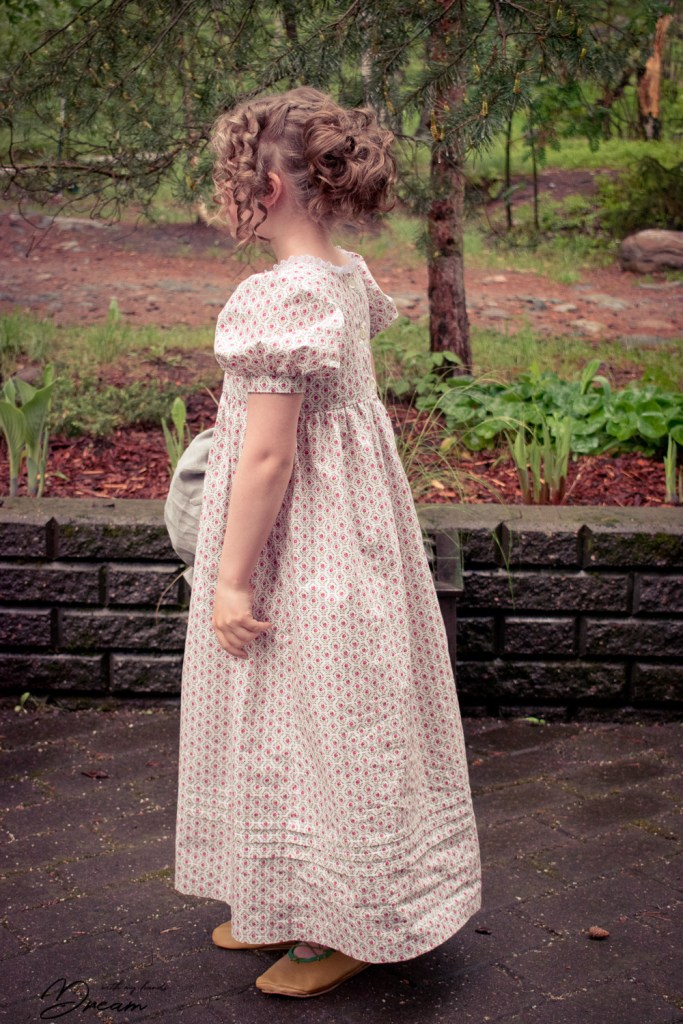 Making an Empire outfit: Girl's Regency Dress by Sense and Sensibility patterns, side view.