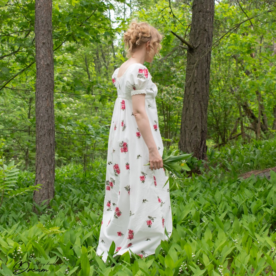 My Empire dress at the lily-of-the-valley forest.
