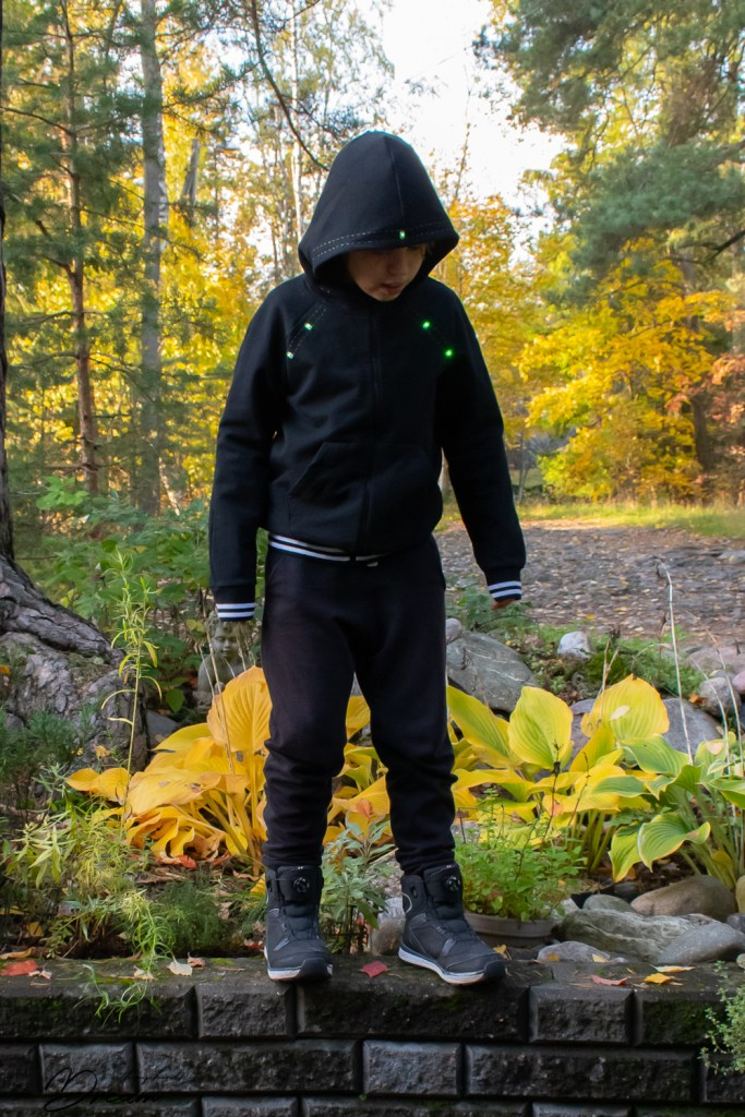The e-textile hoodie from the front.