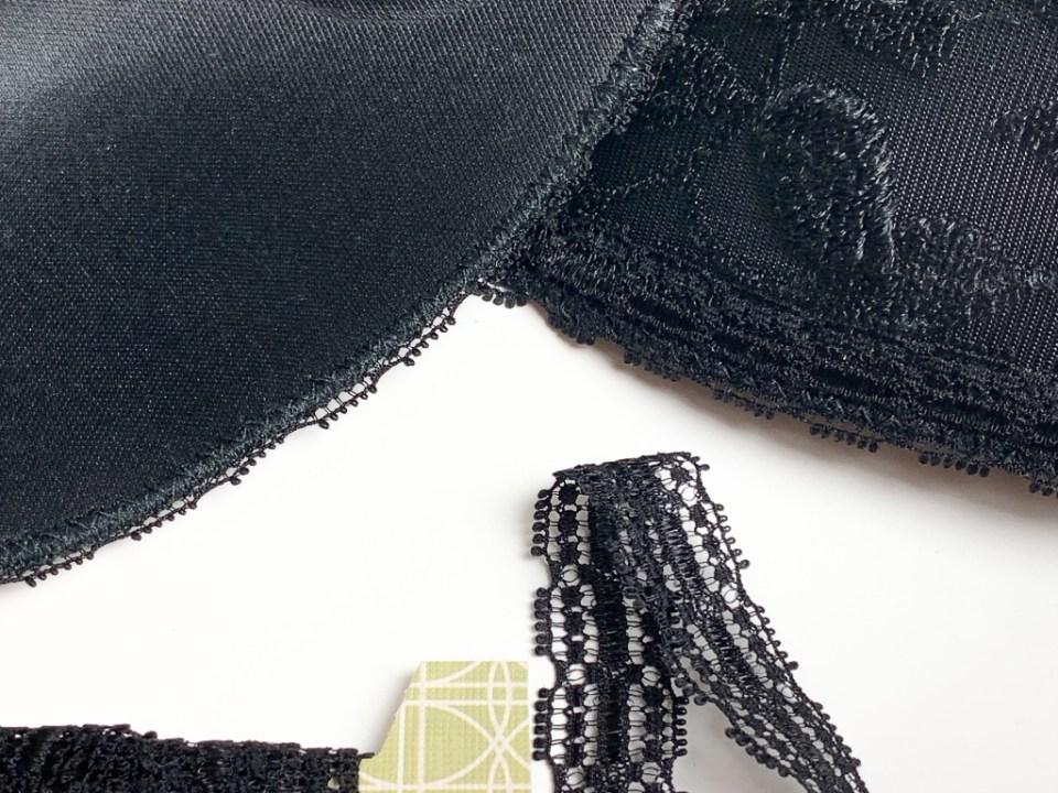The bra top edge finishing detail.