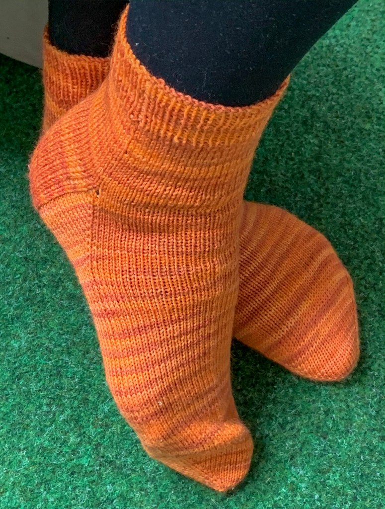 A side view of my new pair of socks.