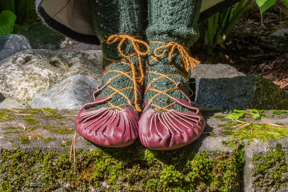 """Iron age shoes or """"kurpposet"""" from the front."""