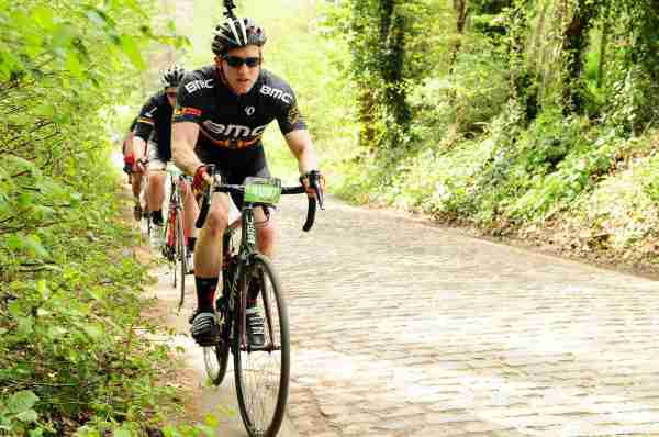 Cycling a cobblestone climb in Belgium's Tour of Flanders