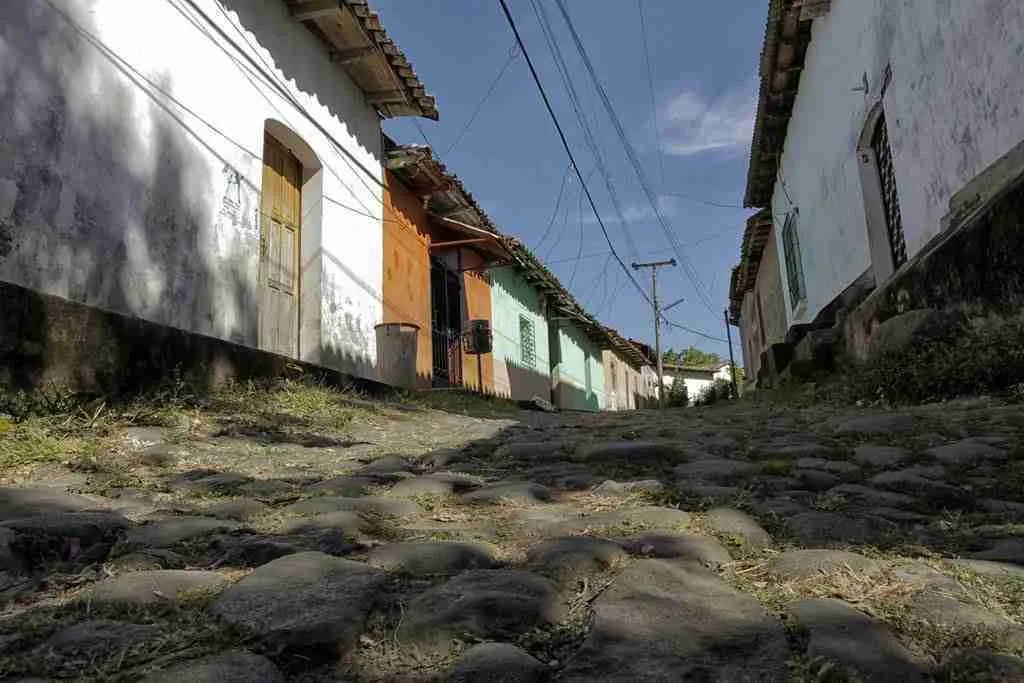 Cobblestone Street in Suchitoto, El Salvador