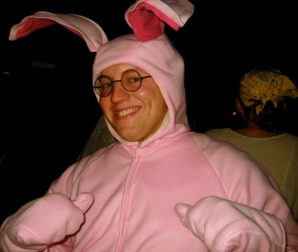 This picture of David as Ralphie in his Easter Bunny costume was taken in February. He really likes A Christmas Story.