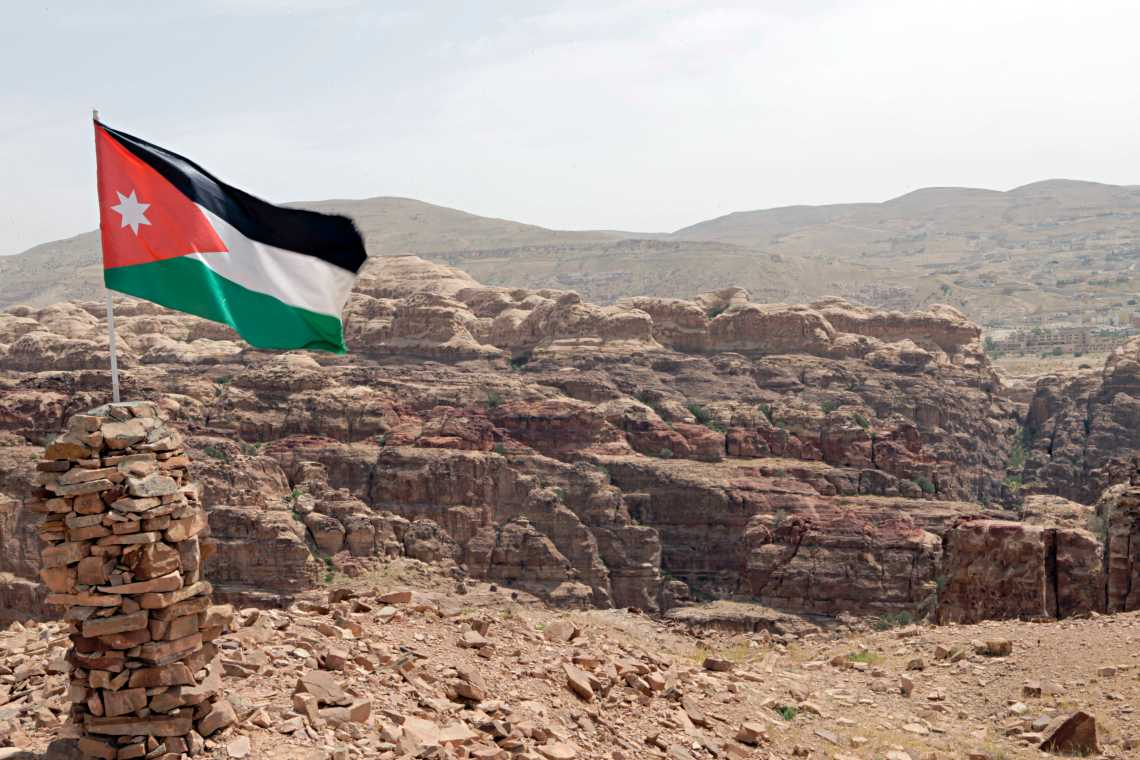 Jordanian flag waving in Petra