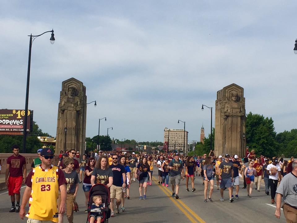 Lorain-Carnegie Bridge during Cleveland Cavaliers championship parade