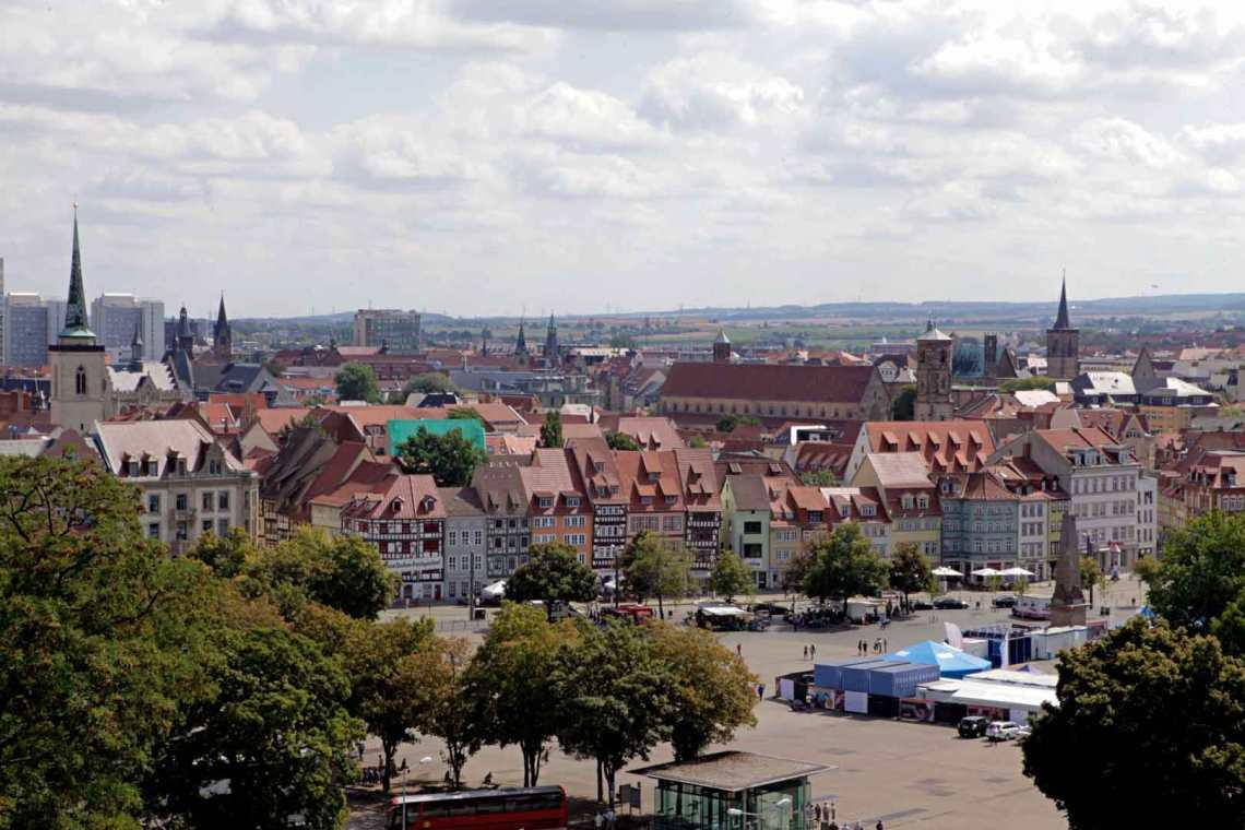 Aerial of the Erfurt, Germany Skyline