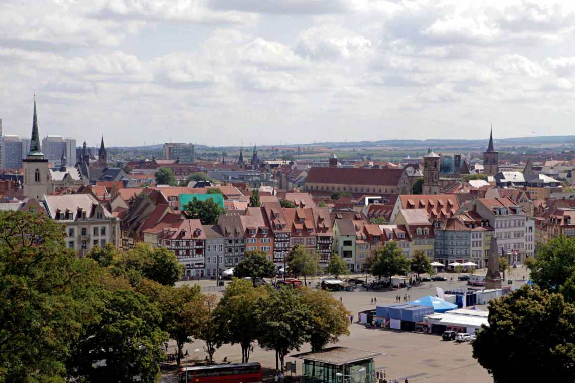 Aerial of the Erfurt, Germany Skyline
