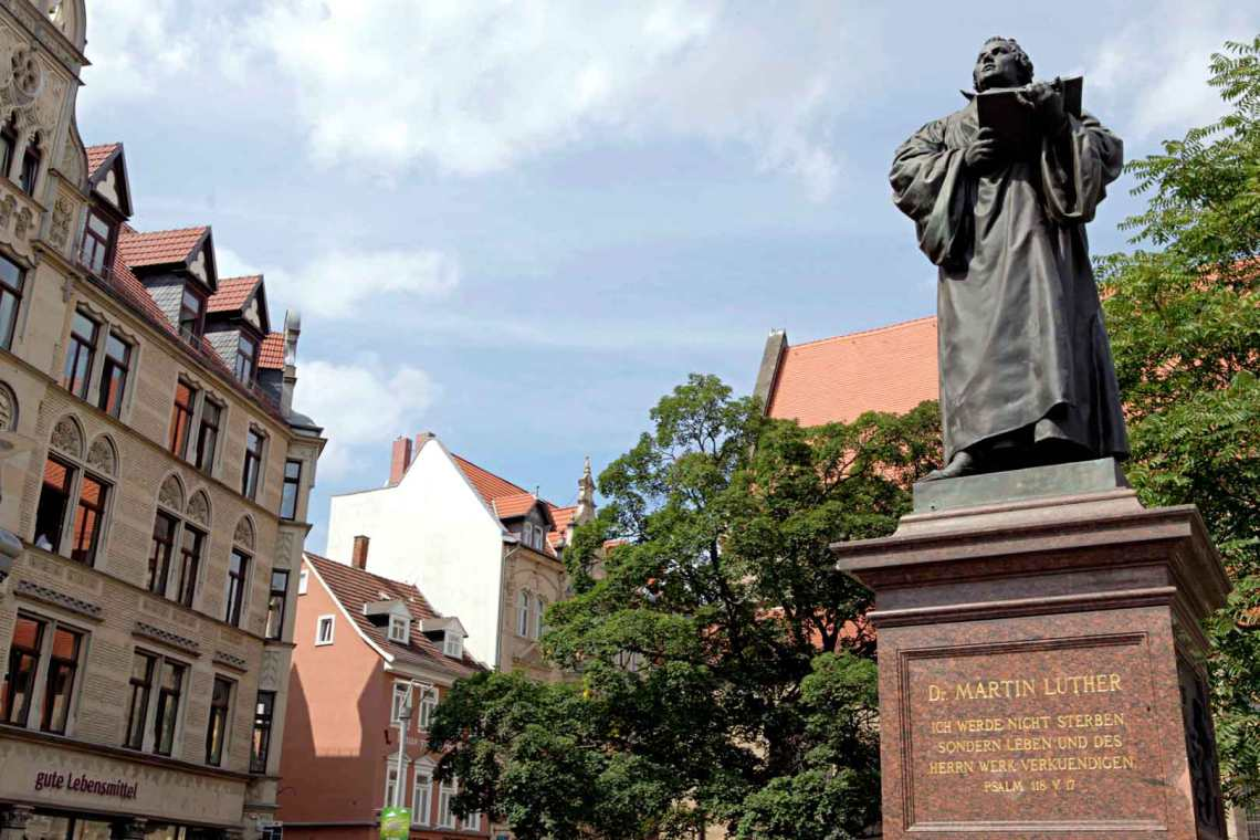 Martin Luther statue in Erfurt, Germany