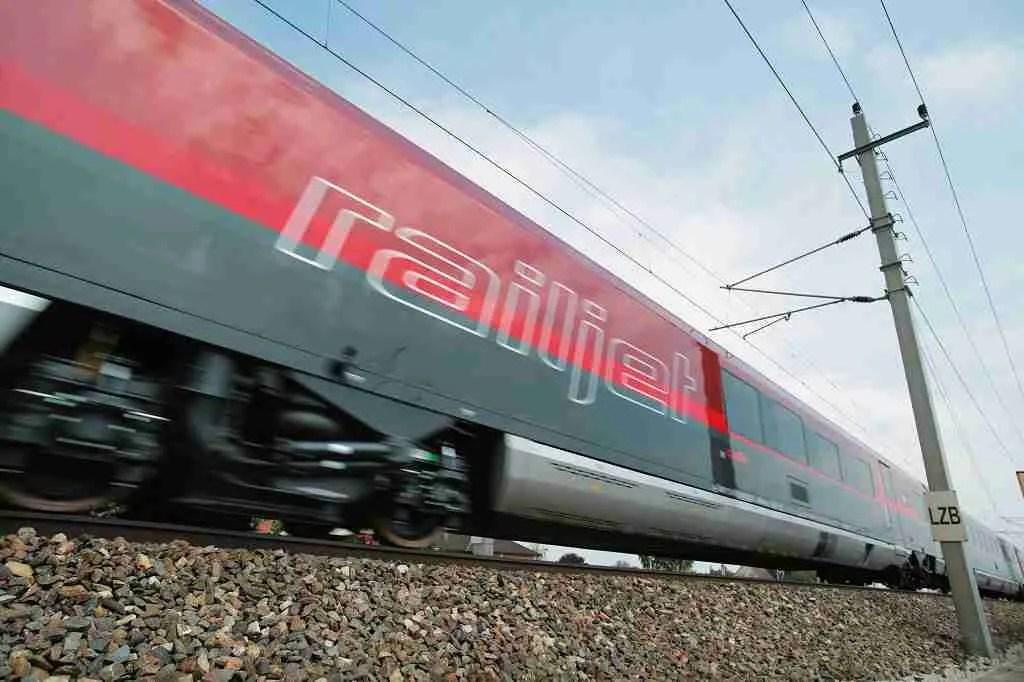 OBB Railjet Train Passing By