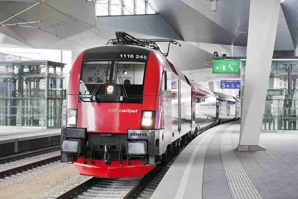 OBB Railjet Train Hauptbahnhof
