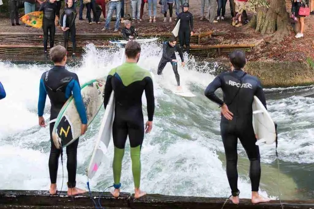 Surfing on the Eisbach river in Munich