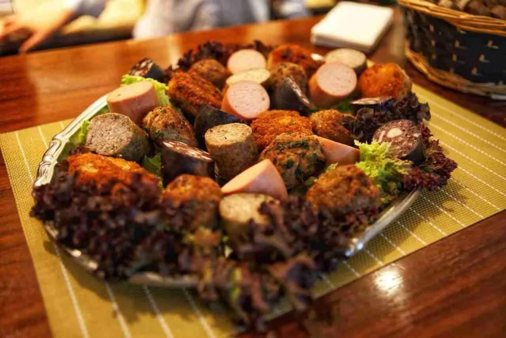 Plate of German Sausages