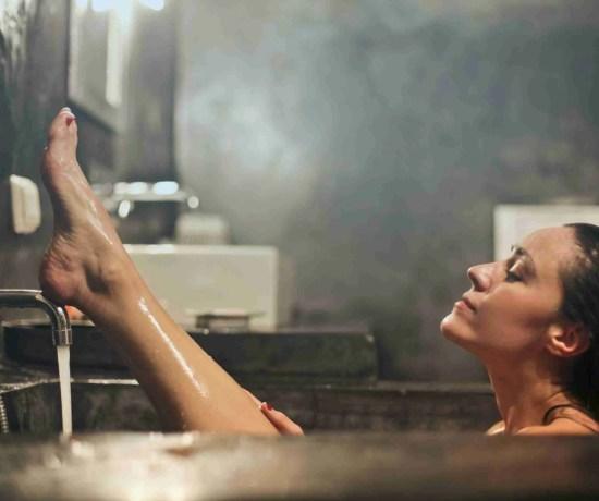 A woman taking a bath