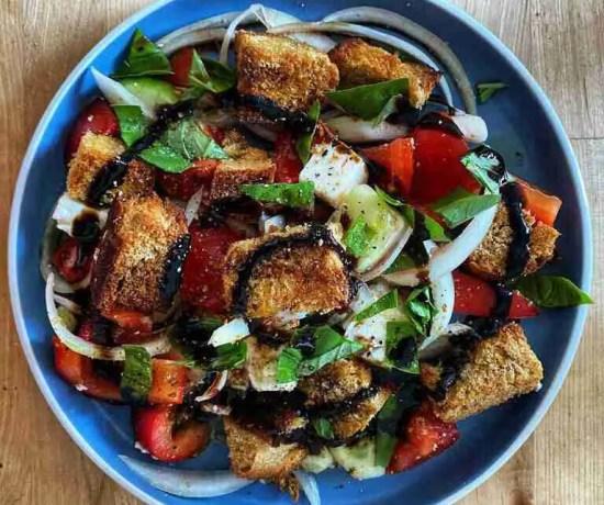 Panzanella Tuscan chopped salad with Challah and Feta
