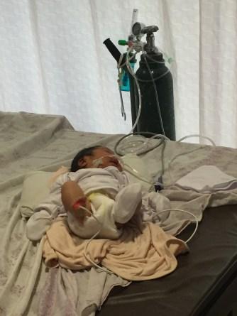 Sick baby Princess Natalia, later taken to the hospital