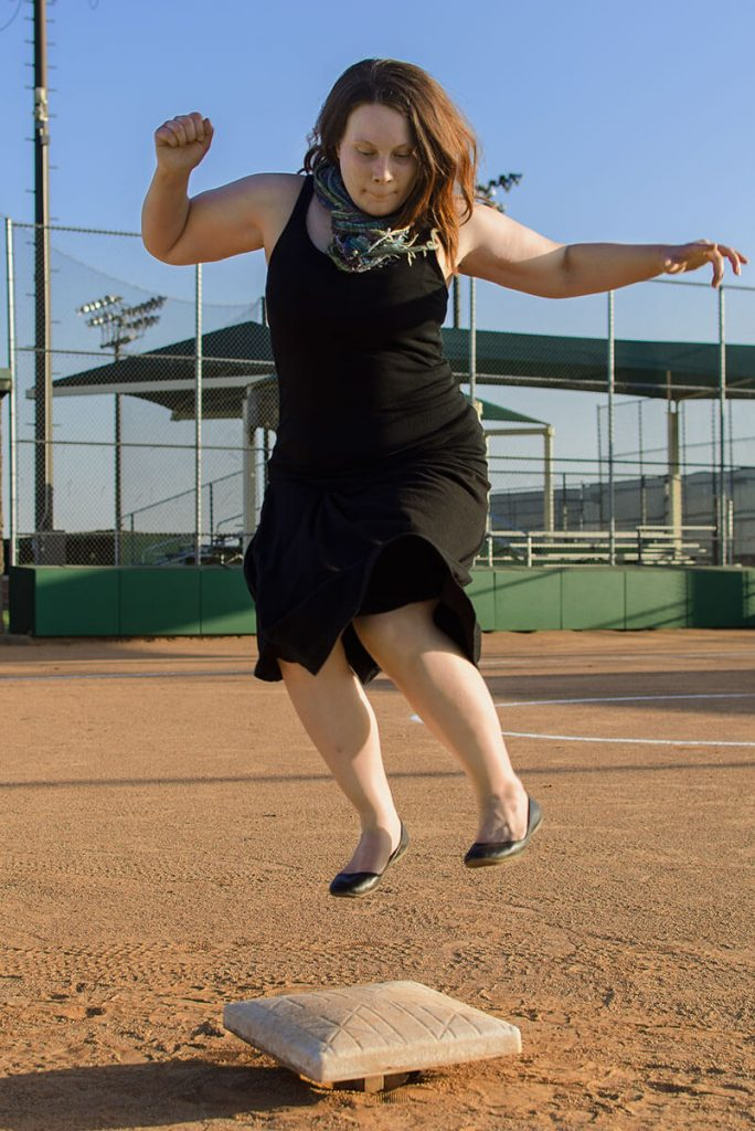 Kat Stimson leaping to second base