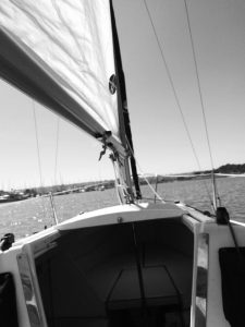 Black and white photo of sailing in San Diego
