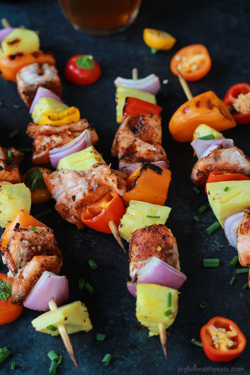 Caribbean Grilled Salmon Kabobs