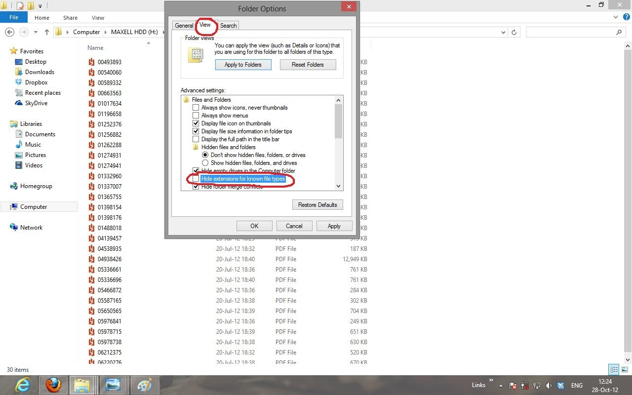 How To Show The Extension Of Files In Windows 8
