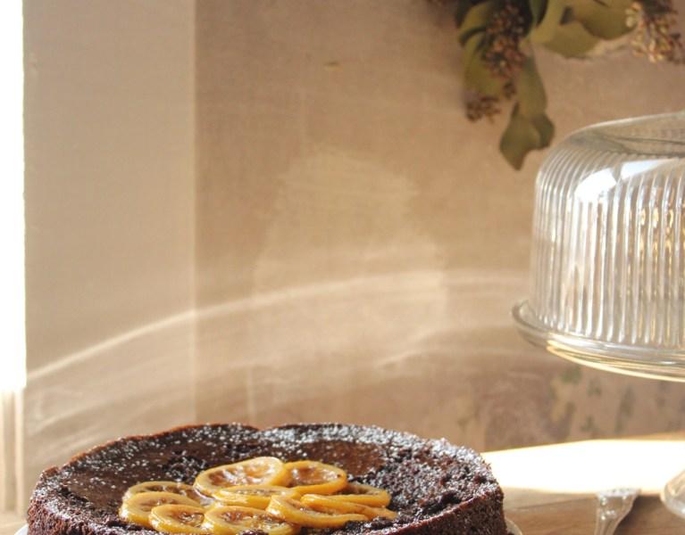 Chocolate, Almond, Lemon Cake with Candied Lemon (Gluten Free)