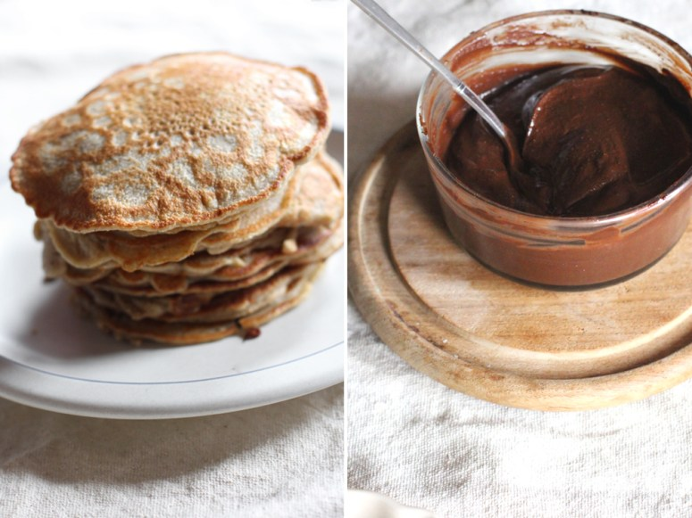 Whole-Wheat Pancakes w/ Homemade Nutella & Homemade Whipped Cream